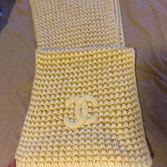 Chanel Cashmere Scarf with Gold Strings